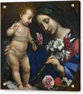 The Virgin And Child With Flowers Acrylic Print