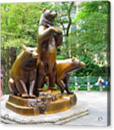 Three Bronze Sculpture Statue Of Bears Great Attraction At New York Ny Central Park By Navinjoshi Acrylic Print