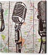 Three Microphones On Map Acrylic Print