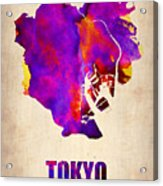 Tokyo Watercolor Map 2 Acrylic Print