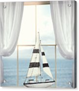 Toy Boat In Window Acrylic Print