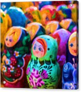 Family Of Mother Russia Matryoshka Dolls Oil Painting Photograph Acrylic Print