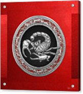 Treasure Trove - Sacred Silver Scorpion On Red Acrylic Print