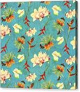 Tropical Island Floral Half Drop Pattern Acrylic Print