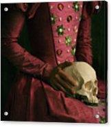 Tudor Woman Holding A Human Skull Acrylic Print