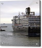 Tugboat Assisting Big Cruise Liner In Venice Italy Acrylic Print