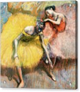 Two Dancers In Yellow And Pink Acrylic Print