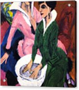 Two Women With A Washbasin Acrylic Print
