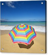 Umbrella On Beach Acrylic Print