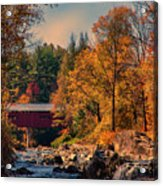 Vermont Covered Bridge Over The Dog River Acrylic Print