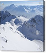 View From Summit Of Valluga, St Saint Anton Am Arlberg Austria Acrylic Print