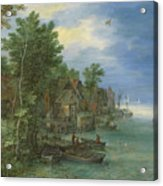View Of A Village Along A River Acrylic Print