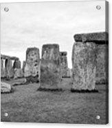 View Of Circle Of Sarsen Trilithon Stones At Side Opposite The Avenue Stonehenge Wiltshire England U Acrylic Print