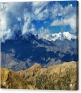 View Of Snow Peaks Leh Ladakh  Jammu And Kashmir India Acrylic Print