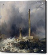 View Of The Lighthouse At Gatteville Acrylic Print by Jean Louis Petit