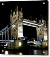 View Of The River Thames And Tower Bridge At Night Acrylic Print