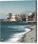 Village And Shingle Beach Of Erbalunga In Corsica Acrylic Print