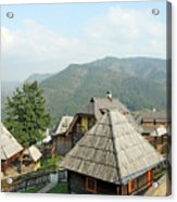 Village On Mountain Rural Landscape Acrylic Print