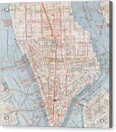 Vintage Map Of Lower Manhattan  Acrylic Print