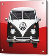 Volkswagen Type 2 - Black And White Volkswagen T 1 Samba Bus On Red  Acrylic Print