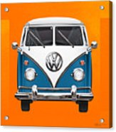 Volkswagen Type 2 - Blue And White Volkswagen T 1 Samba Bus Over Orange Canvas  Acrylic Print by Serge Averbukh