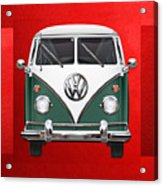 Volkswagen Type 2 - Green And White Volkswagen T 1 Samba Bus Over Red Canvas  Acrylic Print by Serge Averbukh