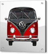 Volkswagen Type 2 - Red And Black Volkswagen T 1 Samba Bus On White  Acrylic Print