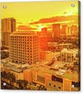 Waikiki City Sunset Acrylic Print