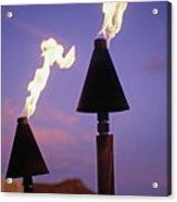 Waikiki, Tiki Torches Acrylic Print by Carl Shaneff - Printscapes