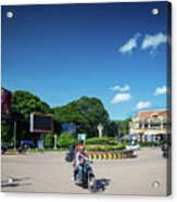 Wat Damnak Roundabout In Central Siem Reap City Cambodia Acrylic Print