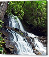 Water Cascading Over Rocky Cliffs Acrylic Print