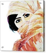 Watercolor Muslim Women Acrylic Print