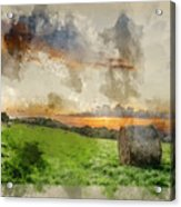 Watercolor Painting Of Beautiful Summer Vibrant Sunset Over Coun Acrylic Print