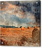 Watercolour Painting Of Beautiful Golden Hour Hay Bales Sunset L Acrylic Print