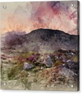 Watercolour Painting Of Stunning Summer Dawn Over Mountain Range Acrylic Print