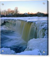 Waterfall With Bluish Icicles Acrylic Print