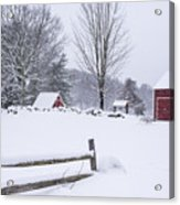 Wayside Inn Grist Mill Covered In Snow Storm Acrylic Print