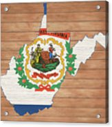 West Virginia Rustic Map On Wood Acrylic Print