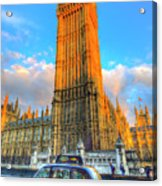 Westminster Bridge And Taxi Acrylic Print