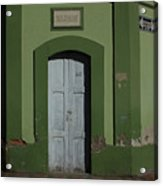 White Door In A Green Wall Acrylic Print