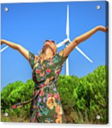 Wind Turbines Woman Acrylic Print