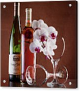 Wine And Orchids Still Life Acrylic Print