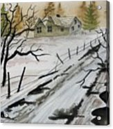 Winter Farmhouse Acrylic Print