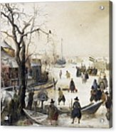 Winter Scene On A Canal Acrylic Print