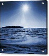 Winter Setting Sun Blue Toned Acrylic Print