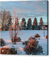 Winter Sunset In Weyburn Acrylic Print