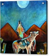 Wolves Howling At The Moon Acrylic Print by Pilar  Martinez-Byrne