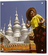 Woman At Golden Temple In China Acrylic Print