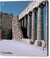 Woman At The Parthenon In Athens Acrylic Print