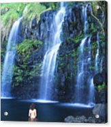 Woman At Waterfall Acrylic Print